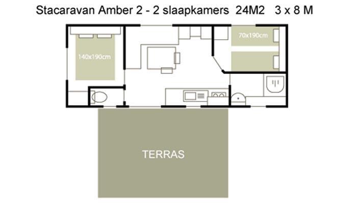 Stacaravan Amber 2 - plattegrond