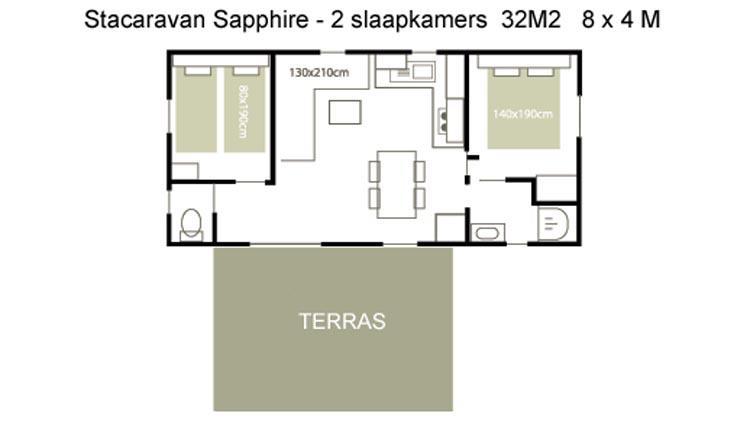 Stacaravan Sapphire - plattegrond